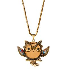 Loving this Brown Crystal & Goldtone Glasses Owl Pendant Necklace on #zulily! #zulilyfinds