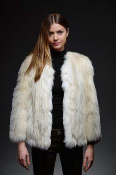 creamy white fox fur jacket – horovitz
