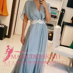 Wholesale Elegant Sky Blue Evening Dresses Short Sleeve Chiffon Arabic Prom Formal Gowns 2015 Occasion Dress A-Line V-Neck Celebrity Custom Made, Free shipping, $79.22/Piece | DHgate Mobile