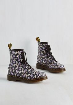 Flower Ballad Boot in Black. Having an edgy rockstar personality doesnt mean you cant show off your sweet side - so lace up these boots by Dr. #black #modcloth