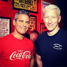 Andy Cohen and Anderson Cooper toast a new gay bar. Police, Two Spirit, Ac2, Anderson Cooper, Bravo Tv, Famous Men, Gay Couple, Gay Pride, Role Models