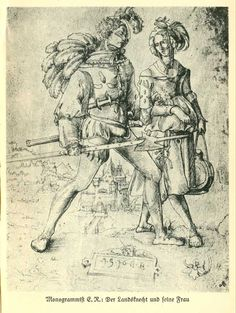 "1523 Urs Graf (SWISS) ""A Soldier Walking with a Camp Follower"""