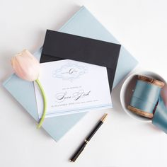 Could this be your something blue?! Save the Date from Sunny and Swoon Design Studio // A wedding invitation and stationery studio based in New Zealand. 'Fancy Flourish' wedding stationery design in baby blue and deep gray, teamed with gorgeously luxe cardstock. See more over on my website! www.sunnyandswoon.co.nz