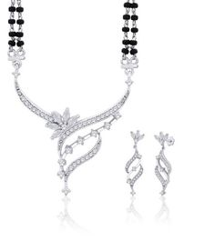"Peora Valentine Rhodium Plated Cubic Zirconia ""Izna"" Mangalsutra Earrings Set (PM35S)"