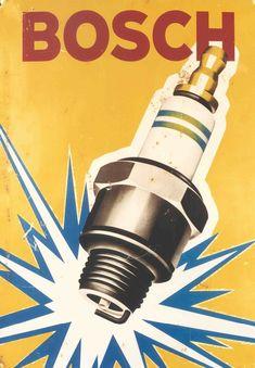 Bosch Spark Plugs Vintage Automobile Advertising Poster Canvas Print In. Vintage Metal Signs, Vintage Menu, Vintage Posters, Vintage Cars, Poster Art, Man Cave Home Bar, Garage Art, Car Posters, Spark Plug