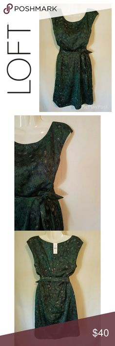LOFT Sleeveless Dark Green Patterned Dress New with tags. Ann Taylor Loft brand dark green patterned dress. Lined. Ties on the side for an ultra flattering fit. Offers welcome. LOFT Dresses
