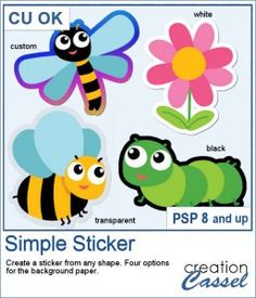 """You can create some fun stickers based on any shapes of images you have.  This script will do all the calculations to add a paper border for you. You can choose to have a white or black paper. You can also choose a """"transparent"""" plastic for your sticker. And furthermore, you can even choose a completely different type of paper, whether it has a different color, a gradient, or even a pattern (if you want to go a little wild).  Compatible with PSP8 and up. Create A Sticker, Graphic Projects, Borders For Paper, Black Paper, Psp, Paper Background, Some Fun, Script, Scrapbooking"""