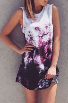 Women Tie Dye Sleeveless Mini Dress Sexy 2017 Summer Dress Pretty Brief Straight O Neck Beach Comfortable Cute Dresses Cute Dresses, Cute Outfits, Casual Outfits, Loose Dresses, Floral Dresses, Stylish Dresses, Look Fashion, Fashion Outfits, Dress Fashion