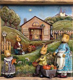 """Купить """"Bless this home"""", дерево и папье-маше - разноцветный, миниатюра, Папье-маше, барельф"""