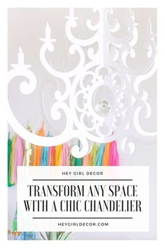 Transform any space in your home with a fun and chic chandelier! This is a great home decor idea to spruce up a boring area in your home. Diy Light Fixtures, Girl Decor, White Acrylics, Hey Girl, Clear Crystal, Nursery Decor, Chandelier, Diy Projects, Fancy