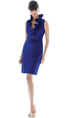 Ruffle Neck Short Alfred Sung Bridesmaid Dress D461 by Dessy at frenchnovelty.com