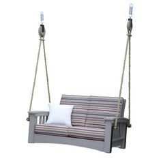 Choose to purchase Poly Lounge Rope Swing by Hershy Way Porch Swing With Stand, Vintage Porch, Hanging Beds, Patio Loveseat, Rope Swing, Diy Porch, Swing Seat, Hammock Stand