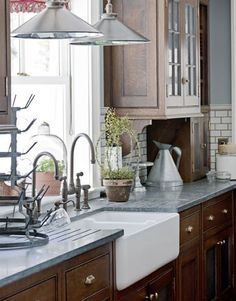 The Granite Gurus: 10 Soapstone Kitchens, Sinks and a Fireplace ...soapstone sides counter and copper sink?