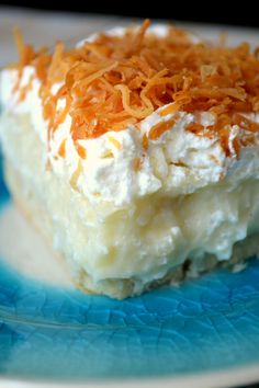 Coconut Cream Pie Bars. This recipe makes a fabulous Coconut Cream custard and a wonderful flaky crust. The bars are easier to cut than pie and better because the recipe makes a fabulous 9X13. LOVE THESE!