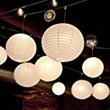 AGPtek 5 Sets Round White Paper Lanterns usable with Color LED Lamps for Christmas Wedding Party Decoration Metal... christmas deals week