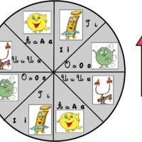 Un autre petit jeu pour travailler spécifiquement les phonèmes voyelles a, i, o, u. Le jeu se joue avec 4 joueurs. A tour de rôle, ils tournent la flèche, et doivent choisir l'image...
