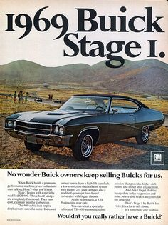 1969 Buick Stage I Classic Car Photo Ad by AdVintageCom 1969 Buick Stage I Oldtimer-Fotowerbung von AdVintageCom Vintage Advertisements, Vintage Ads, Vintage Prints, Vintage Graphic, Vintage Trucks, Best Muscle Cars, American Muscle Cars, E Motor, Buick Cars
