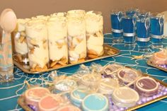 Homemade banana pudding and aqua JELL-O accented the sweets table.