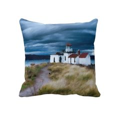 Unique, trendy and pretty pillow. Beautiful painting of dark blue stormy sky over Portland Maine lighthouse and stripe pattern. Colorful design created for the lover of beaches, ocean and sea, boating, sailing, vacation and traveling. Cute kids, mom's or dad's birthday present, Mother's or Father's day, or Christmas gift. Original and cool pillow for the master or children's bedroom, nursery, living or family room, man cave, dorm, beach house, boat, ship or yacht, RV, vacation home, or…