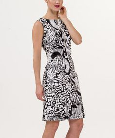Look what I found on #zulily! Black & White Abstract Zipper Sleeveless Dress - Women by Amelia #zulilyfinds