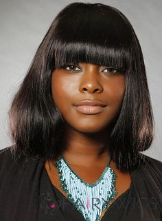 Stunning Medium Straight Sepia African American Wigs for Women
