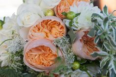 Roses, peach peonies, green, white, Queen Anne's Lace, dahlias - Bridal Bouquet - All Days Wonder Photography, Whimsey Florals