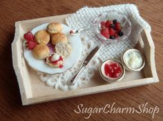 1:12 scale Tray with scones  for dollhouses by SugarCharmShop