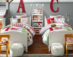 Johanna and Maria matching (and JJ) Christmas bedding... so cute! Maybe this will go on sale after the holidays...