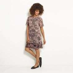 Lovely Lace Printed Shift Dress in Women's