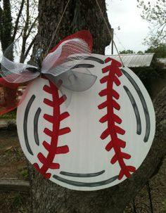 Wooden Baseball Door Hanger by DistressedAccents on Etsy, $30.00