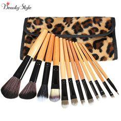 12Pcs Makeup Brushes Set Foundation Eyeshadow Lip Brush With Leopard Leather Bag Brushes Set Cosmetic Powder Blush Soft Mquiagem #Affiliate