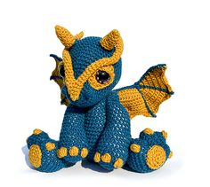 Clancy the dragon amigurumi by Patchwork Moose (Kate E Hancock)