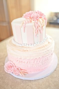 pale pink ruffle wedding cake  ~  we ❤ this! moncheribridals.com #pinkombreweddingcake