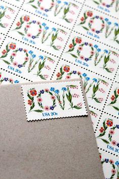 20c Floral Love Unused Vintage Postage Stamps  Add by invitesbyjen, $17.50