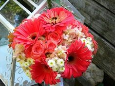 Coral Spray Roses, Coral Gerbera Daisies, Peach Stock, White Button Mums Wedding Bouquet
