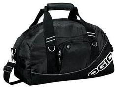 OGIO® Half Dome Duffel:  Sized to fit the gym locker, opens wide to reveal a roomy interior that holds shoes and a change of clothes.