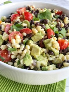 Fiesta avocado salad is loaded with avocados, corn, black beans, tomatoes, Salad Recipes Video, Healthy Salad Recipes, Healthy Snacks, Vegan Recipes, Avocado Recipes, Vegan Foods, Soup Recipes, Dinner Recipes, Healthy Eating