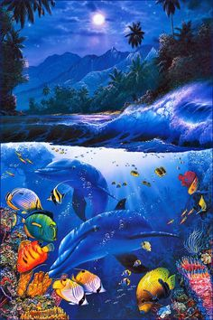 Christian R Lassen--All of my notebooks/folders/binders, were this. I was that kid. Fantasy Landscape, Fantasy Art, Wyland Art, Paradis Tropical, Dolphin Art, Underwater Art, Water Animals, Sea Art, Orcas