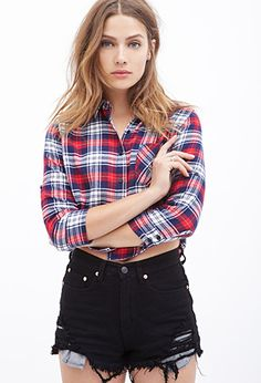 Boxy Plaid Flannel Top | FOREVER21 - 2000120903