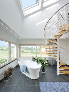 Keitel Haus, Clawfoot Bathtub, Modern, Sauna, Bathroom, Spiral Stair, Attic Rooms, Gym Room, Terraced House
