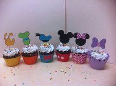 Mickey Mouse clubhouse cupcake decoration sets by TotHeads on Etsy Festa Mickey Baby, Fiesta Mickey Mouse, Mickey Mouse Bday, Mickey Mouse Cupcakes, Mickey Mouse Clubhouse Birthday Party, Mickey Mouse Parties, Mickey Party, 2nd Birthday Parties, Disney Parties