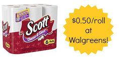 Stock up on paper towels this week at Walgreens - Scott Paper Towels Only $0.50 a Roll! Details are at Become a Coupon Queen.