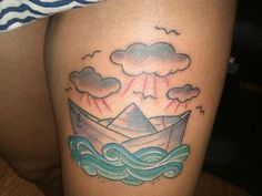 Ship and waves tattoo, like the color and shading on the waves.
