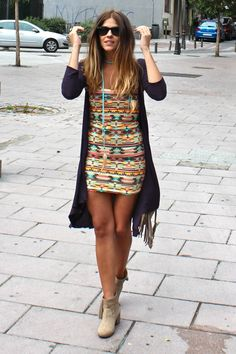 Gorg Aztec Print Dress, Booties and Cardi for Spring with Fringe Bag