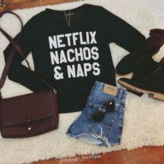 Netflix, Nachos and Naps..Motto to live by! Snatch up this adorable, uber-soft sweatshirt for just $30 with #freeshipping by commenting below with your email address    Size: Small-Large | Shop this product here: spree.to/as3g | Shop all of our products at http://spreesy.com/jessycat    | Pinterest selling powered by Spreesy.com