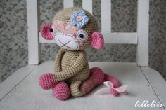 PATTERN - Monkey girl, crochet amigurumi toy