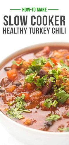 Made with lean turkey, hearty beans and smoky fire-roasted chilis, each bite sticks to your ribs – not your waistline. This hearty and satisfying Slow Cooker Healthy Turkey Chili recipe has great flavor, easy to make and ideal for feeding a crowd! Healthy Chili, Healthy Slow Cooker, Slow Cooker Recipes, Easy Turkey Recipes, Healthy Dinner Recipes, Turkey Chili, Turkey Dishes, Cooking Turkey, Chilis