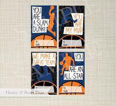 Printable Basketball Valentine's Day Cards . by HoneyandRosesPress