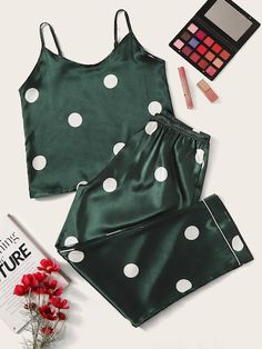 Shop Polka Dot Satin Cami Pajama Set at ROMWE, discover more fashion styles online. Pajama Outfits, Lazy Outfits, Girl Outfits, Cute Outfits, Cute Pajama Sets, Cute Pajamas, Pajamas Women, Pyjama Satin, Satin Pajamas