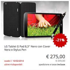 #LG #tablet #GPad 8.3, con cover e stylus pen comprese nel prezzo. Colore nero.